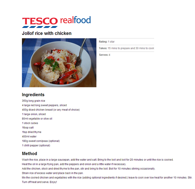 tesco jollof rice