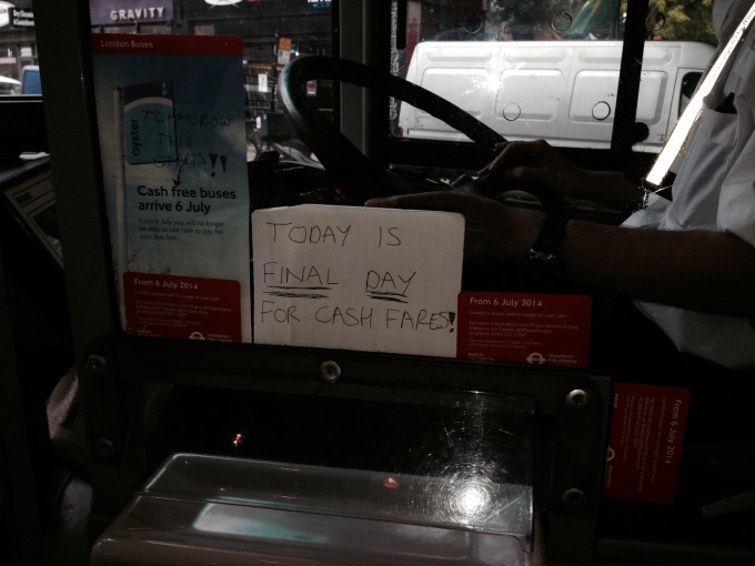 A bus driver uses caps lock to remind passengers about the change